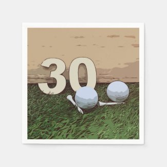 Golf 30th Birthday Napkin with golf ball and tee