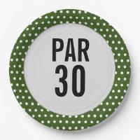 Golf 30th birthday polka dot golfer's birthday paper plate