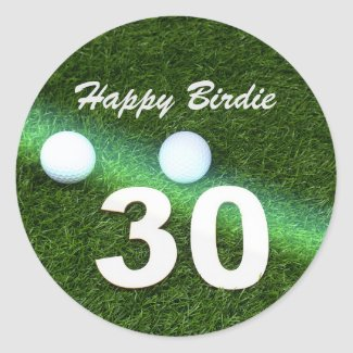 Golf 30th Birthday with golf ball and number Golf Classic Round Sticker