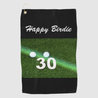 Golf 30th Birthday with golf ball and number Golf Towel