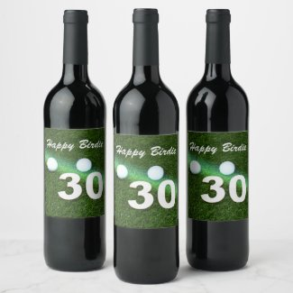 Golf 30th Birthday with golf ball and number Golf Wine Label