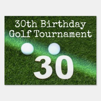 Golf 30th Birthday with golf ball and number Sign