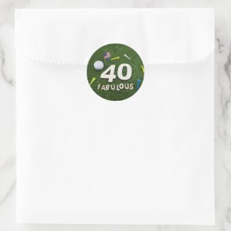 Golf 40th and Fabulous with golf ball birthday Classic Round Sticker