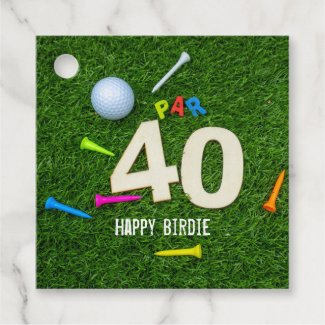Golf 40th Birdie Birthday to golfer with tees Favor Tags