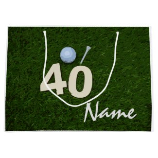 Golf 40th Birthday Anniversary golf ball and tee Large Gift Bag