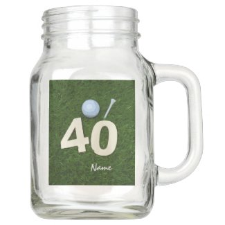 Golf 40th Birthday Anniversary golf ball tee Mason Jar