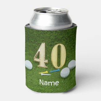 Golf 40th Birthday Anniversary with golf ball Can Cooler