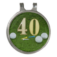 Golf 40th Birthday Anniversary with golf ball Golf Hat Clip
