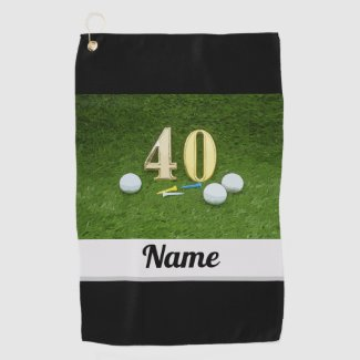 Golf 40th Birthday Anniversary with golf ball Golf Towel