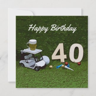 Golf 40th Birthday golf cart and beer on green
