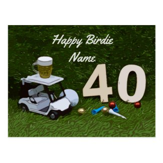 Golf 40th Birthday golf cart and beer on green   C Postcard