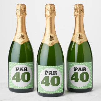 Golf 40th birthday on green polka dots champagne label