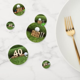 Golf 40th Birthday Party with golf ball and tee Confetti