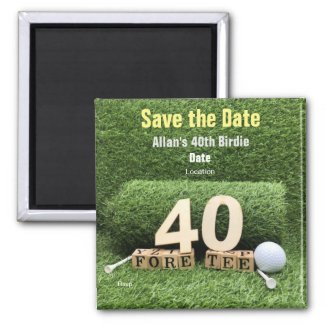 Golf 40th Birthday Party with golf ball and tee Magnet