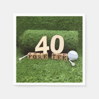 Golf 40th Birthday Party with golf ball and tee Napkins