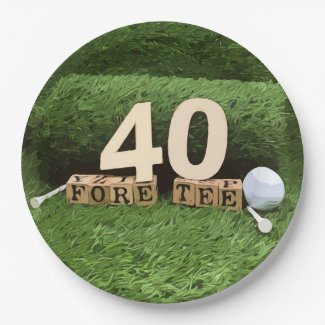 Golf 40th Birthday Party with golf ball and tee Paper Plate