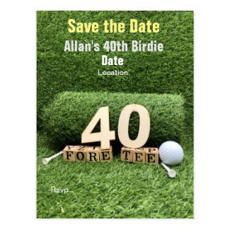Golf 40th Birthday Party with golf ball and tee Postcard