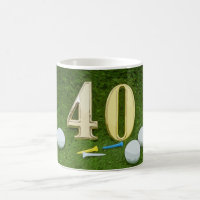 Golf 40th Birthday with golf ball and tee on green Coffee Mug