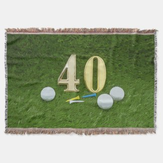 Golf 40th Birthday with golf ball and tee Throw