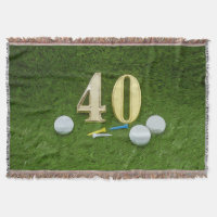 Golf 40th Birthday with golf ball and tee Throw Blanket