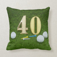Golf 40th Birthday with golf ball and tee Throw Pillow