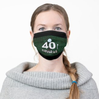 Golf 40th Birthday with golf ball on green grass Adult Cloth Face Mask