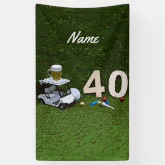 Golf 40th Birthday with golf cart and tee on green Banner