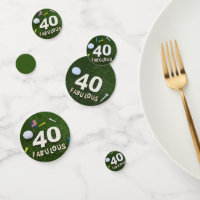 Golf 40th Birthday with number 40 and golf ball Confetti