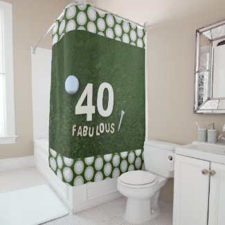Golf 40th Birthday with number 40 and golf ball Shower Curtain