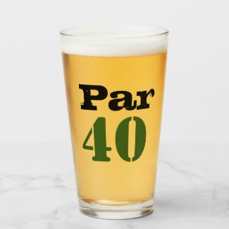 Golf 40th Birthday with number par forty Golf Glass