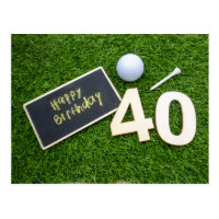 Golf 40th Birthday with sign happy birthday golfer Postcard