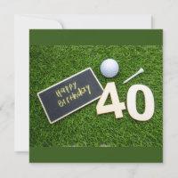 Golf 40th Birthday with word happy birthday golfer