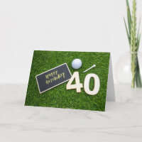 Golf 40th Birthday with word happy birthday golfer Card