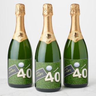 Golf 40th Birthday with word happy birthday golfer Champagne Label