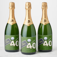 Golf 40th Birthday with word happy birthday golfer Champagne Label