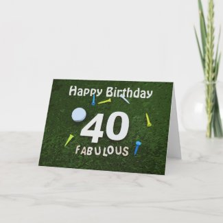 Golf 40th Fabulous Golfer with golf ball and tee Card