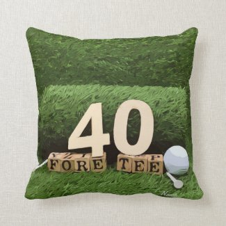 Golf 40th fore tee party  ball and tee birthday throw pillow