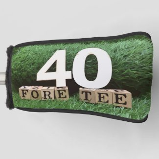 Golf 40th fore tee party with ball and tee modern golf head cover