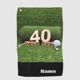 Golf 40th fore tee party with ball and tee modern golf towel