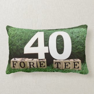 Golf 40th fore tee party with ball and tee modern lumbar pillow