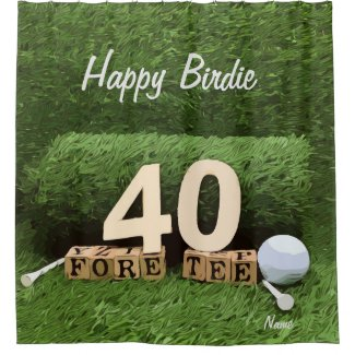 Golf 40th fore tee party with ball and tee modern shower curtain