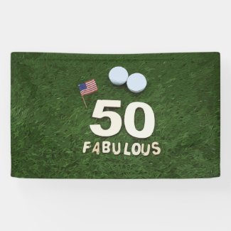 Golf 50th and fabulous golfer birthday & USA flag Banner