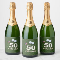 Golf 50th and fabulous golfer birthday & USA flag Champagne Label