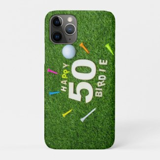 Golf 50th Birdie birthday golf ball and tees Golf Case-Mate iPhone Case