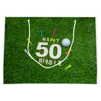 Golf 50th Birdie birthday golf ball and tees Golf Large Gift Bag