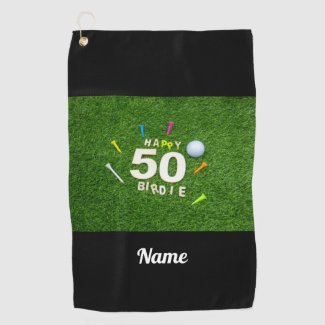 Golf 50th Birdie birthday golf ball and tees Golf Towel