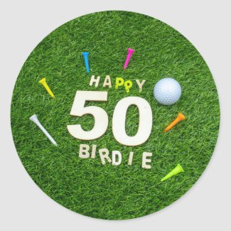 Golf 50th Birdie birthday to golfer with golf ball Classic Round Sticker