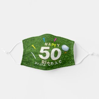 Golf 50th Birdie birthday with ball and tee golfer Cloth Face Mask