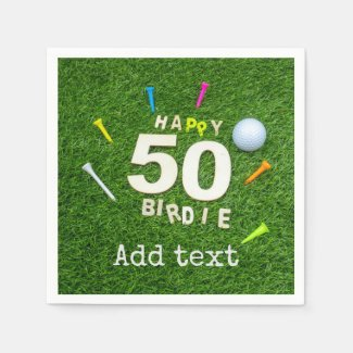 Golf 50th Birdie birthday with ball and tee golfer Napkins