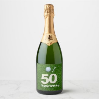 Golf 50th Birthday golf ball and tee on green Champagne Label